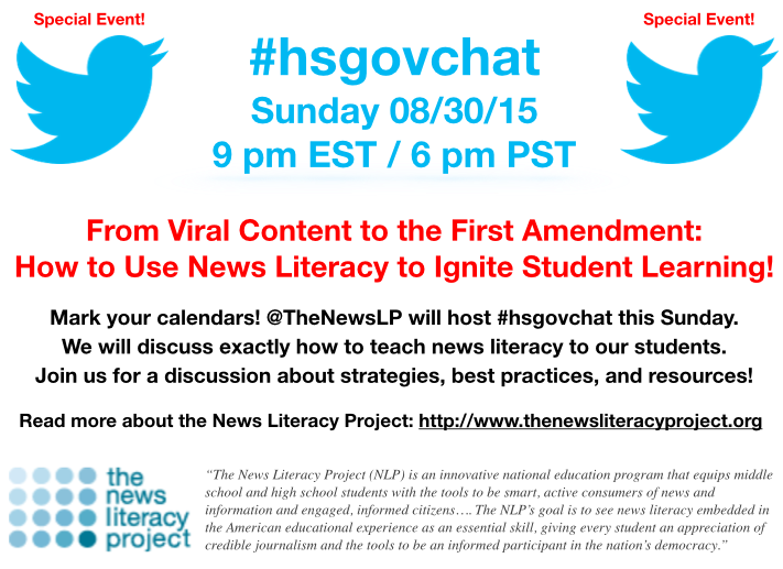 Thumbnail for #hsgovchat (08/30/15): @TheNewsLP on how to use 'News Literacy' to ignite student learning!