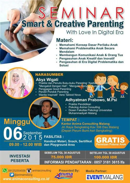 Event Malang On Twitter Seminar Smart Creative Parenting With Love In Digital Era 6 Sept 15 At Kantor Animamalang Cp 0812 5255 4556 Http T Co 9sifom40s8