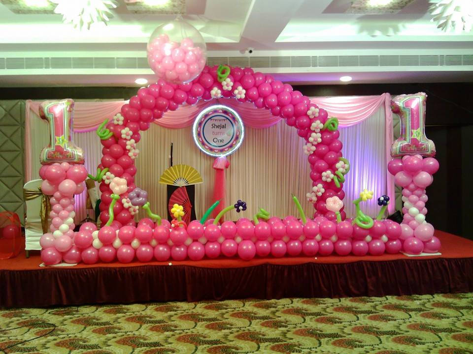 Bubbly balloons on twitter first birthday girl pretty in for Balloon decoration ideas for 1st birthday