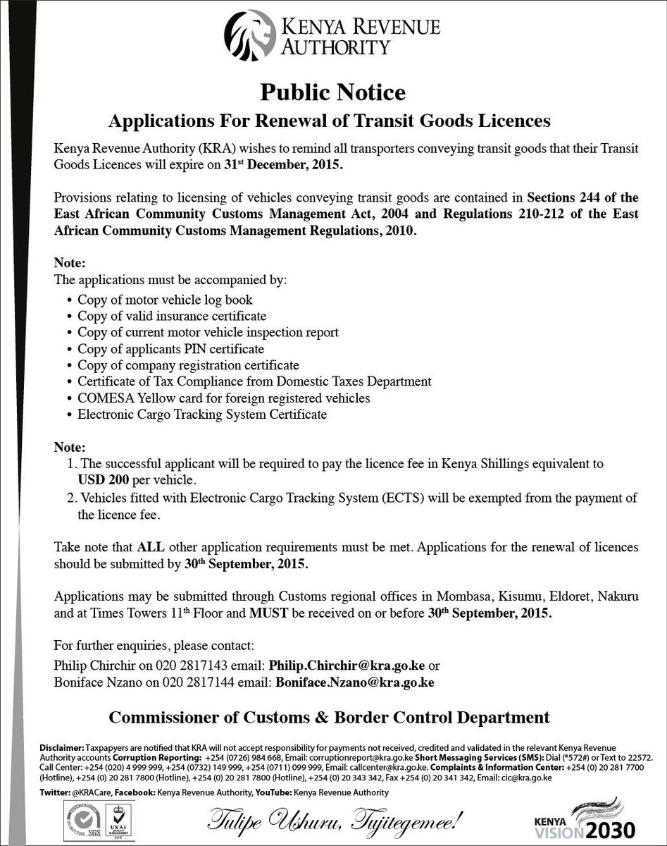 Kra Care On Twitter Public Notice Application For Renewal Of