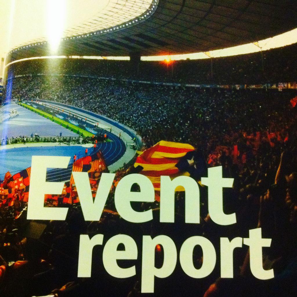 La UEFA multó al Barça por las esteladas, pero curiosamente incluye esta foto en su informe anual de la Champions: http://t.co/D693lbMjnz