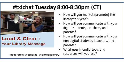 Brisk outside, school has begun Set calendar reminders for weekly #txlchat Sept 1-Loud & Clear: Your Library Message http://t.co/QiYxp8B0oD