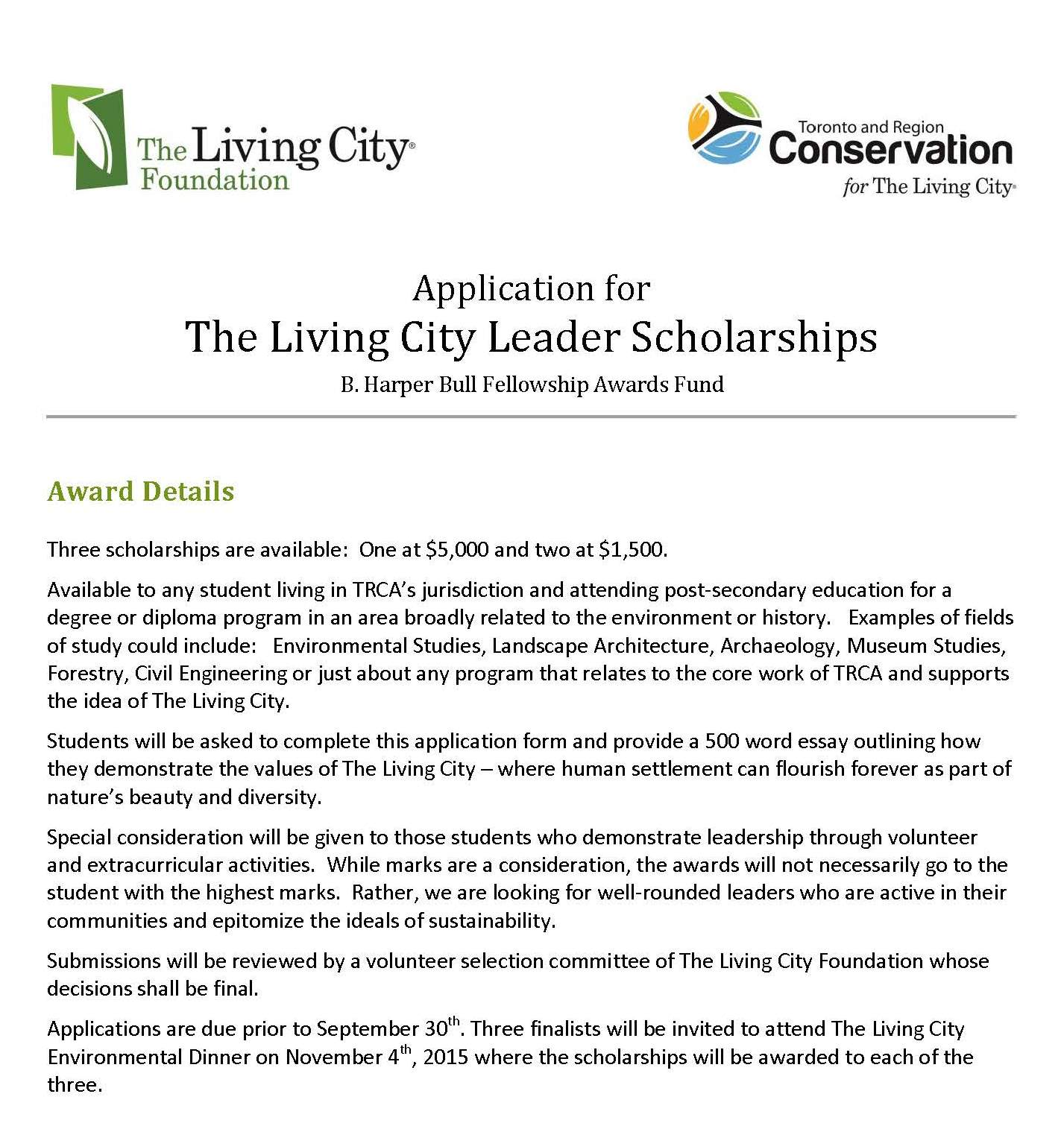 living city reg fdn on announcing the living city leader living cityreg fdn on announcing the living city leader scholarships 2015 more info at t co gyqminbaqf environmental toronto