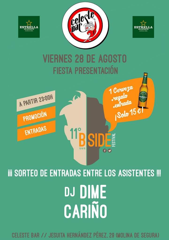 Fiesta @B_SideFestival en Celeste Bar  con sorteo de entradas y venta de entradas promocionales. cc @estrellalevante http://t.co/VVtiJVzOzB