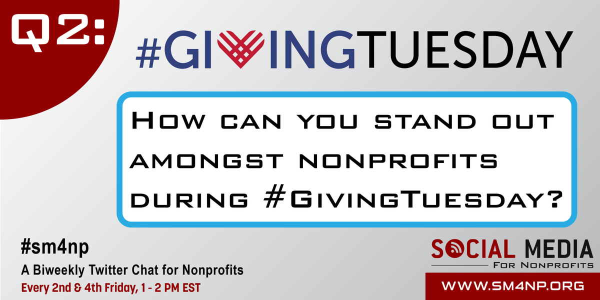 Great! Q2: How can you stand out amongst nonprofits during #GivingTuesday? #SM4NP http://t.co/FTOffkFMkS
