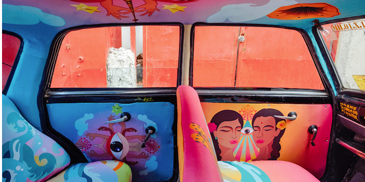 A splash of colour for Mumbai's Taxis - take a look at the Fabric Taxi project here: http://t.co/poq3zYWsu7 #creative http://t.co/GPqiwrKri2