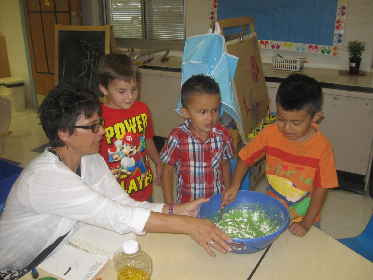 Making play dough with the afternoon class on the first day of school. http://t.co/qips7gW9kQ