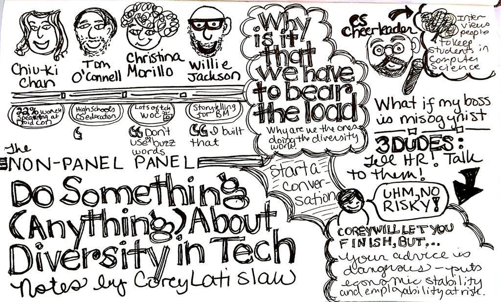 Diversity panel at @DroidconNYC. Sketchnote http://t.co/T1gcKx9Dnj