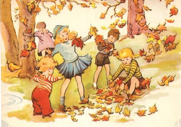 Марта маме, картинки осень дети собирают листья