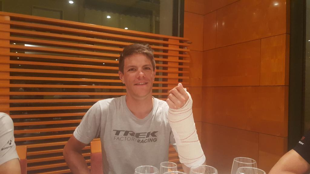 Really sad news that @Jasperstuyven has a broken scafoid but chapeau to win your first race like this! #class http://t.co/c0gDE2HBjz