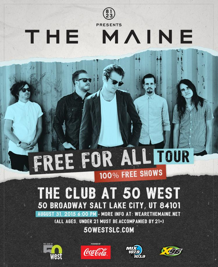 Start next week off right, @themaine are doing a FREE SHOW @50WestSLC Monday night. Details: http://t.co/MOkKcOEhxQ http://t.co/SGlW9ztBBn