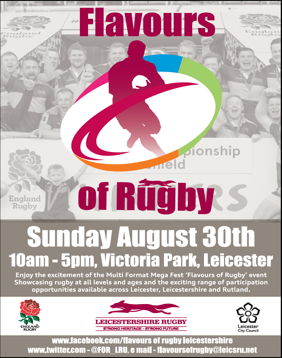 RT @Leicester_Merc: Look out for the Leicester Mercury at the Flavours of Rugby event today 10am-5pm Victoria Park @Leicester_News http://t…