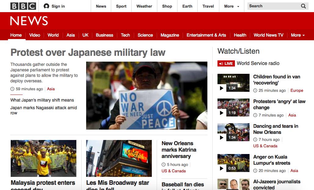国会前デモ。英国の公共放送BBCはトップ扱い。 わが国の公共放送(のはずの)NHKは記事そのものがない(検索してもヒット無し)。 http://t.co/EW6RqoBWSC