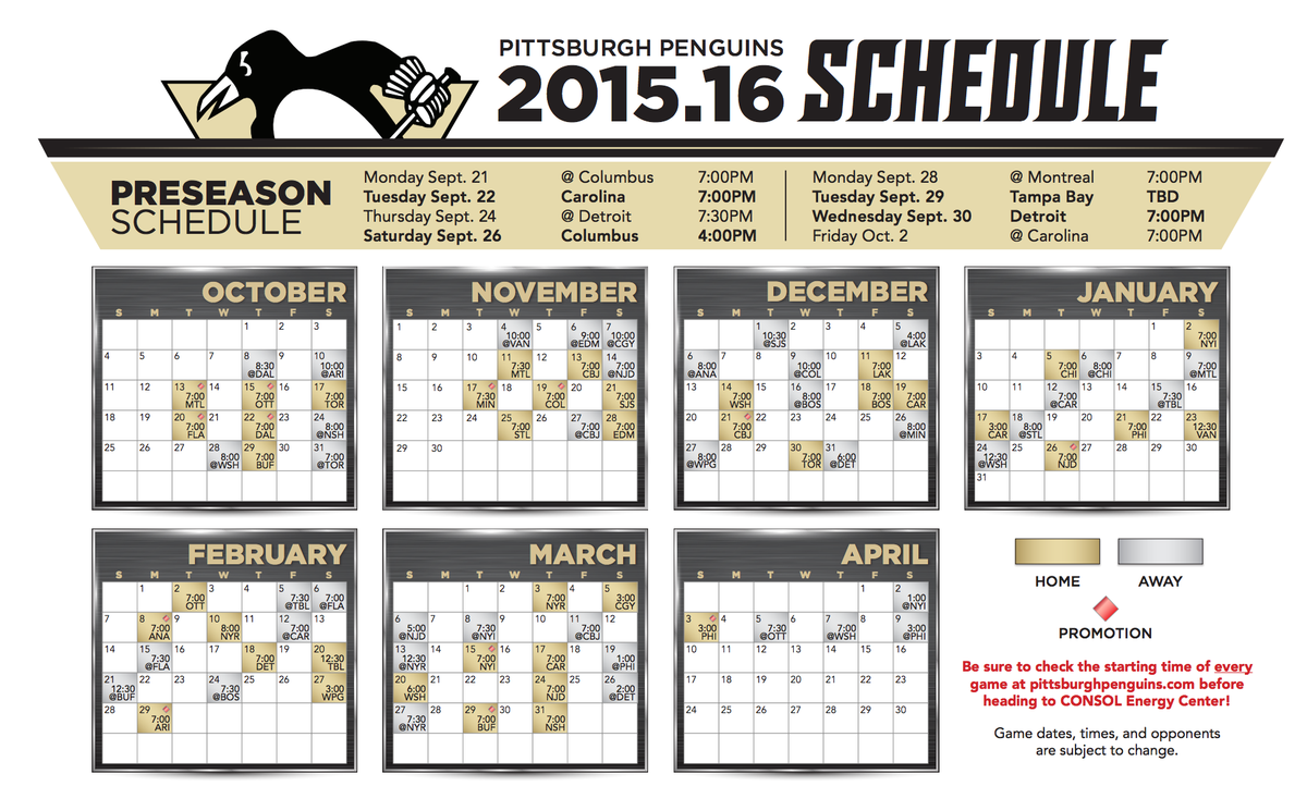 graphic about Pittsburgh Penguins Printable Schedule known as Pittsburgh Penguins upon Twitter: \