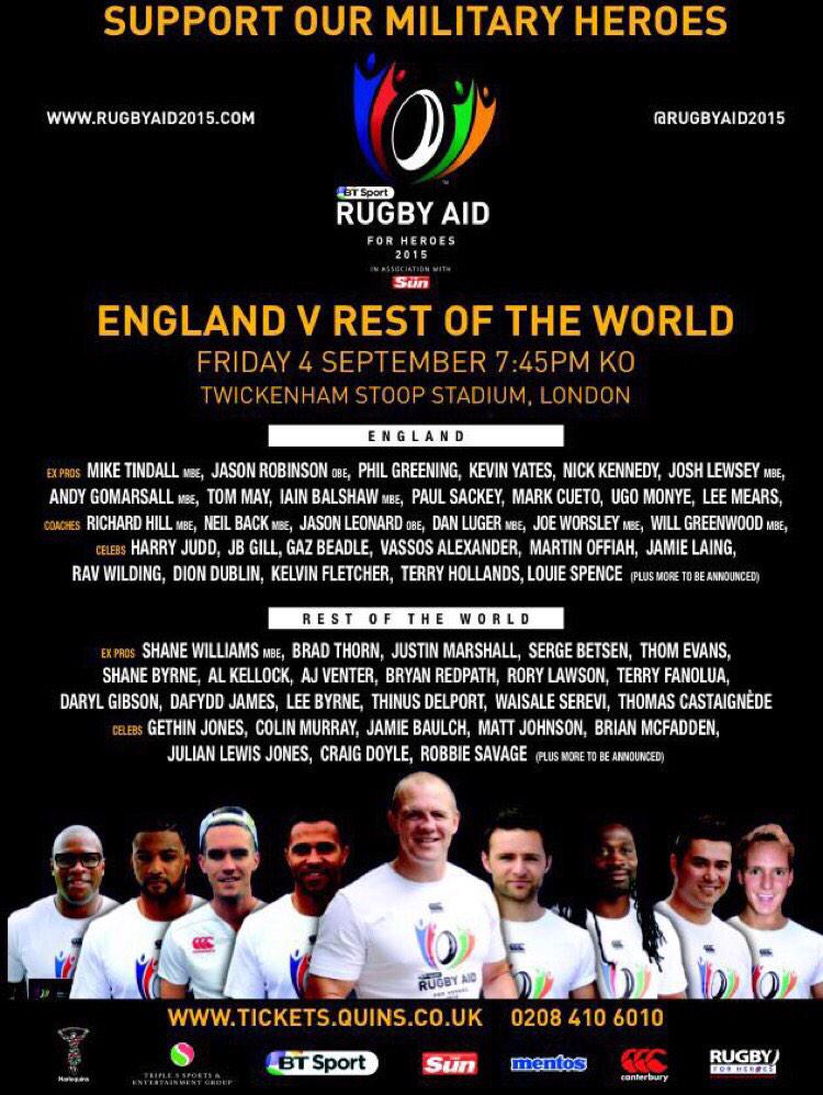 I want the best atmosphere possible for this game! @RugbyAid2015  So I'll follow the first 100 of you who RT this..