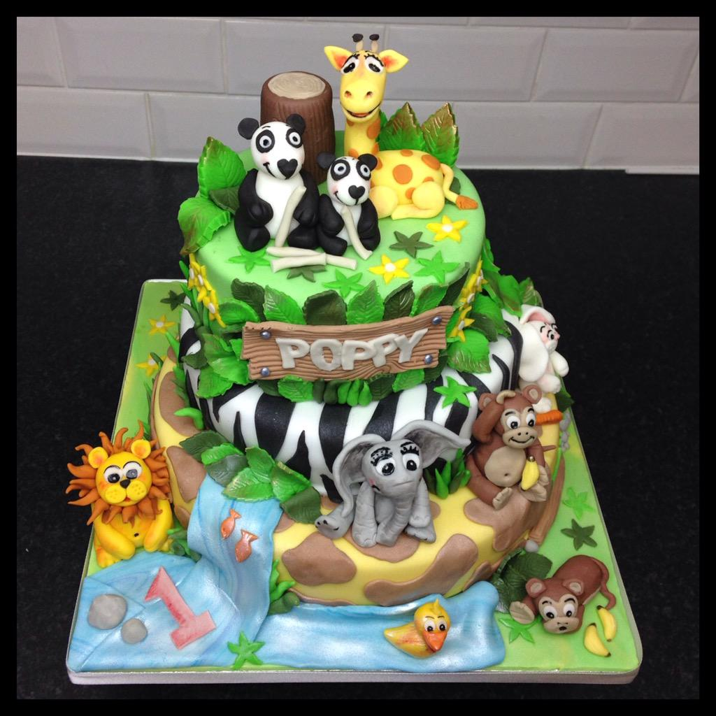 The Bakeking On Twitter Animal Theme 1st Birthday Cake For My