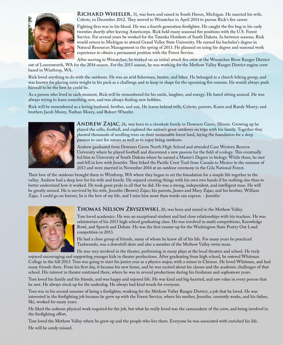 Biographies of the fallen firefighters from the official program. RIP Richard, Andrew & Tom. #WAWildfires #wawildfire http://t.co/R8nlUJc2LG