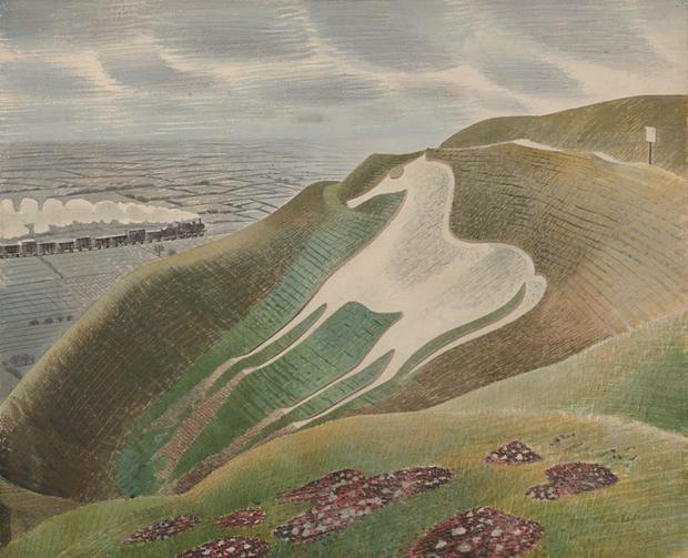 The Westbury Horse, 1939 by Eric Ravilious. Photograph: Private Collection http://t.co/2cbRHoViWv