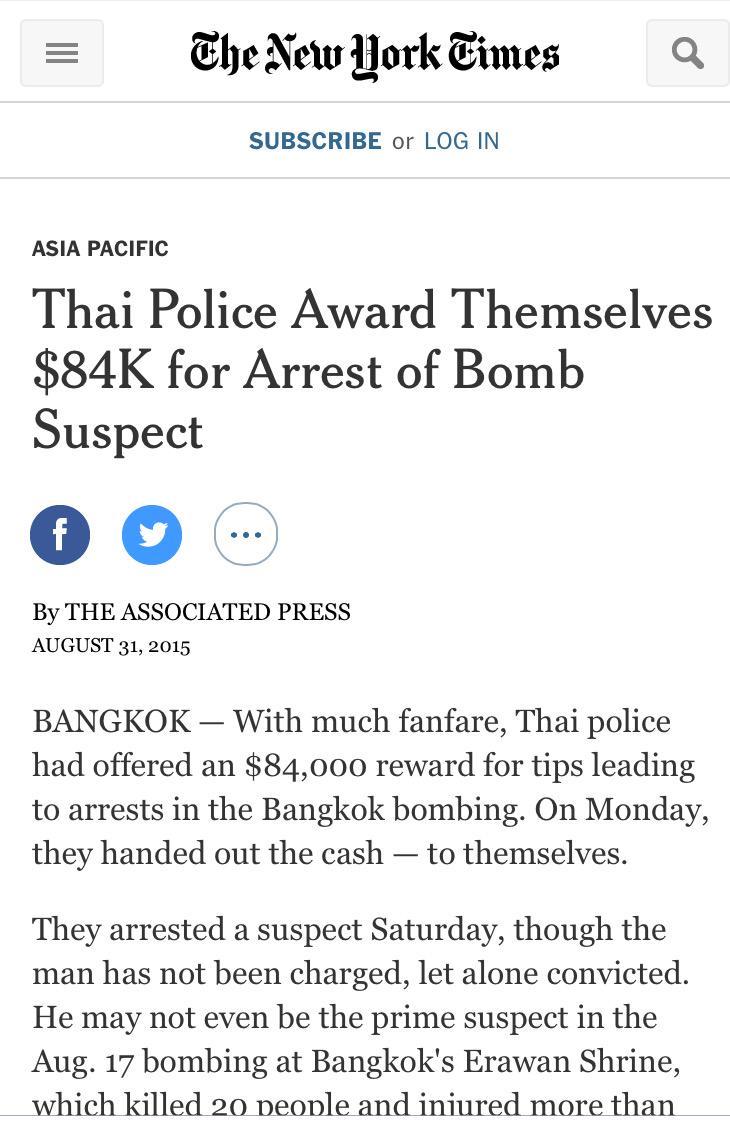 นิวยอร์คไทมส์ลงข่าวตำรวจไทยจ่ายรางวัลนำจับให้กับตัวเอง http://t.co/ij8bU84Fti