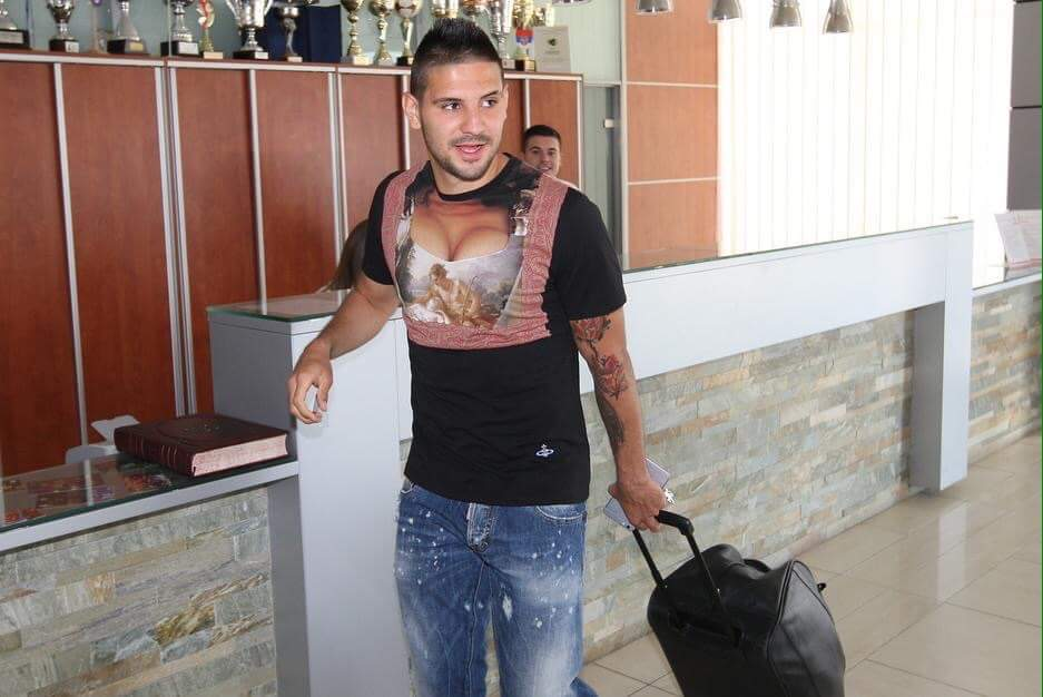 LMAO!! SEE WHAT FOOTBALLER Mitrovic is wearing