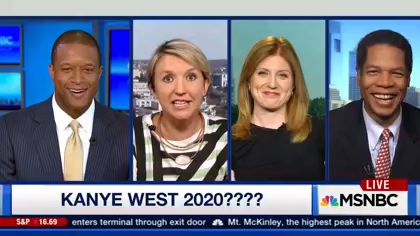 MSNBC now pushing Kanye West 2020