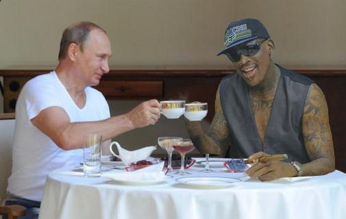 Tea Time with Dennis Rodman and Putin