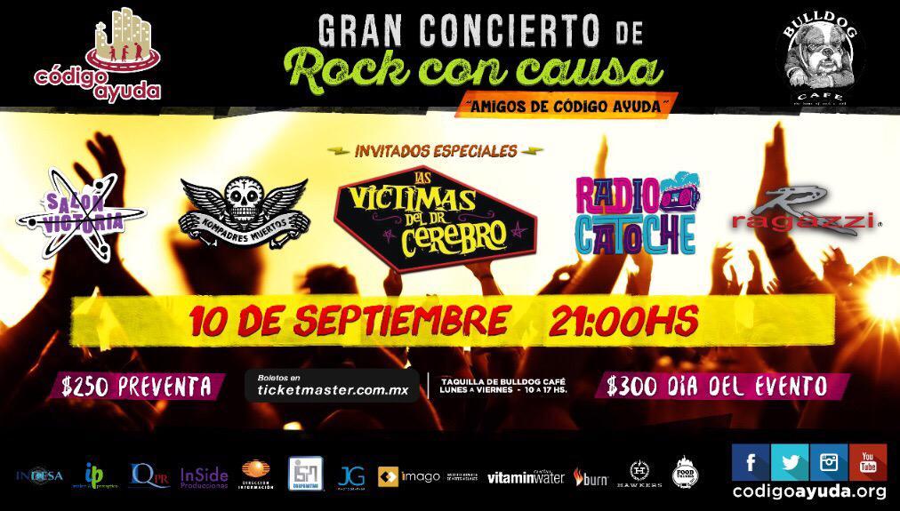 No pueden faltar al gran concierto! #RockConCausa #FundaciónCodigoAyuda @CodigoAyuda @GabyGoldsmith