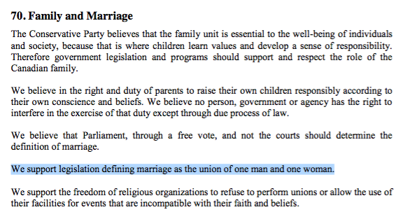 Absurd thing I learned today: the Conservative party wants legislation to redefine marriage in Canada http://t.co/VRowcPR3Ek