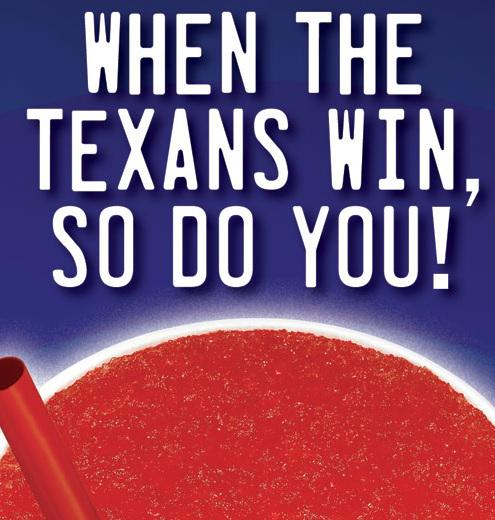 Free Texans Slush Tuesday at @sonicdrivein for @HoustonTexans win! Let's keep it up every Tuesday! http://t.co/NuXzDqol1x