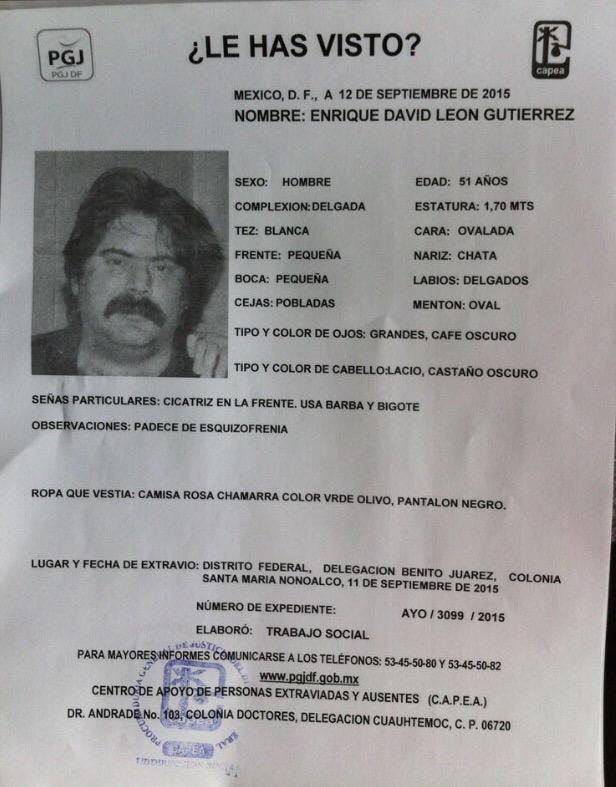 ¿Me regalas un RT? Buscan al vecino Enrique David por edad no procede @AlertaPlateada CC @En_laDelValle @LaRomaDF http://t.co/JfXK5K7oQB