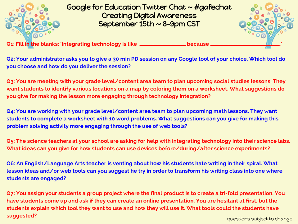 Tonight's #gafechat is about Creating Digital Awareness. Together let's brainstorm ideas. http://t.co/4epvCiGnZs