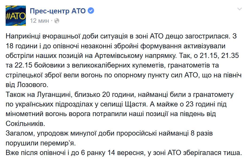 Террористы несколько раз нарушили перемирие за день 15 сентября, - пресс-центр АТО - Цензор.НЕТ 3390