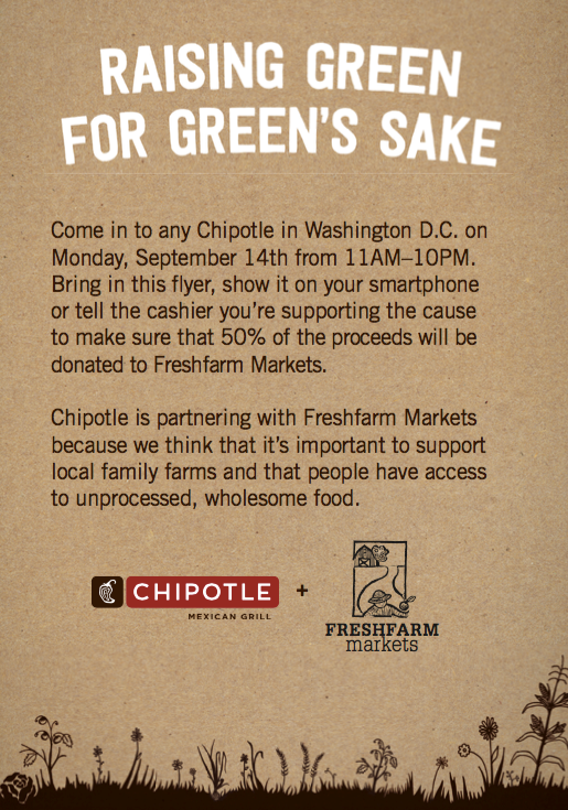 Show this to the cashier when you get Chipotle in DC for lunch TODAY & 1/2 of what you pay will be donated to us! http://t.co/eMdjPSrrgz
