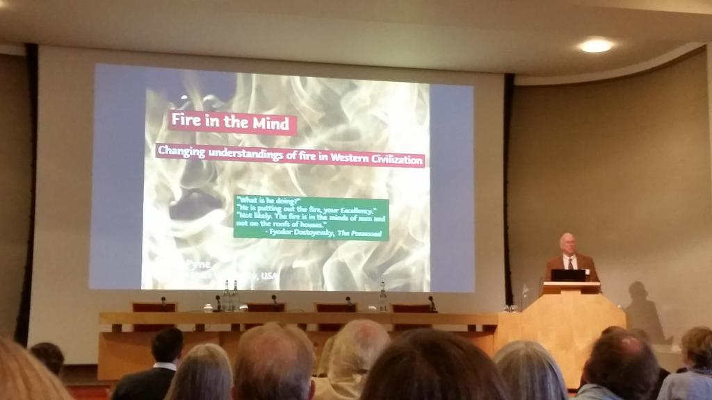 Stephen Pyne speaks on 'fire in the mind' from nature to culture and back again #RSfire @royalsociety http://t.co/t9cslcSzlx