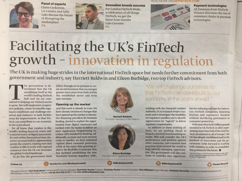 @eileentso Great article, fully agree #FinTech #InnovationInRegulation #London #FTW15 http://t.co/uCKQTjpgkM