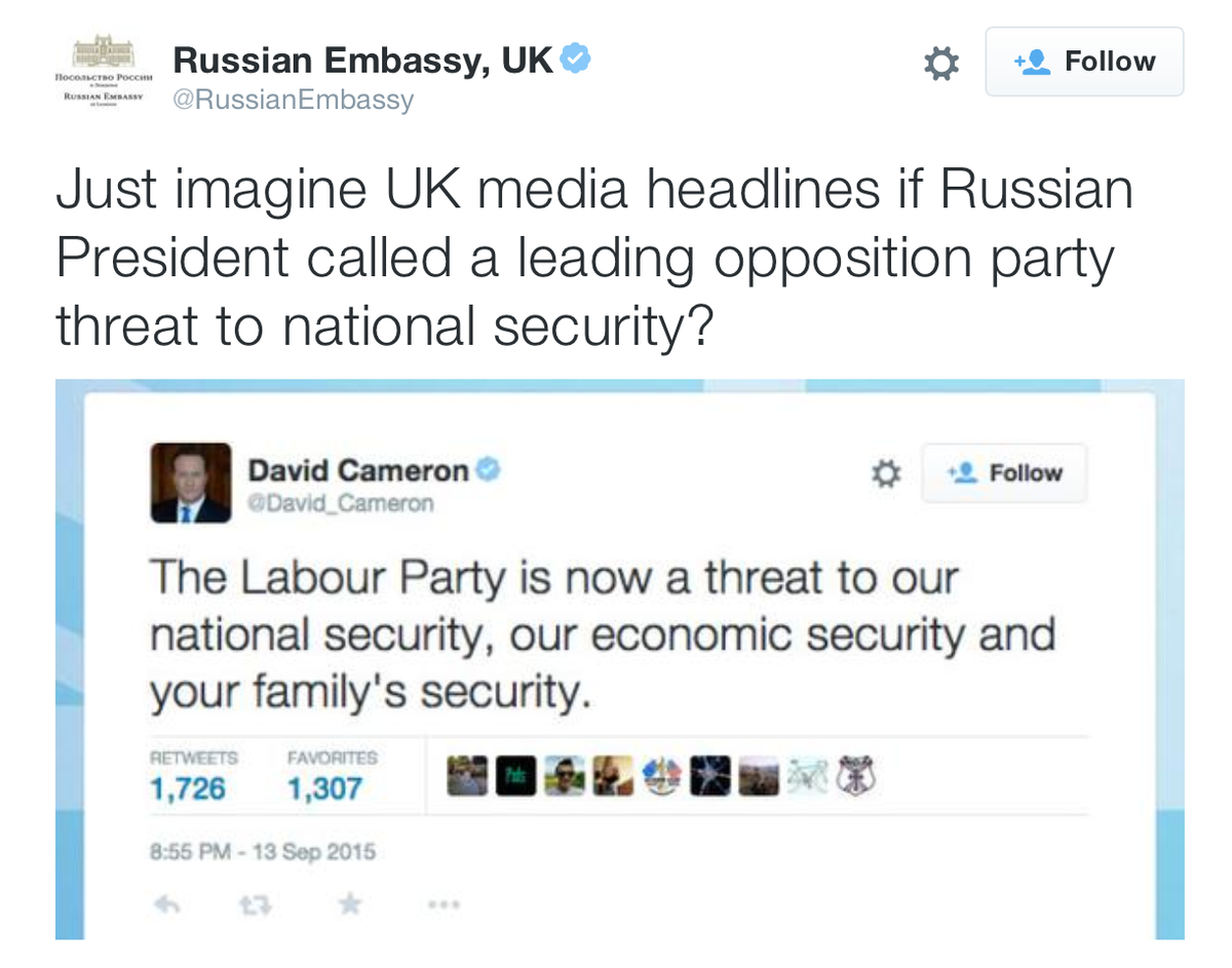 This is odd. Russian embassy being snarky to the UK Prime Minister (and witty too …) (cc. @GreatDismal) http://t.co/XFeKex1zUG