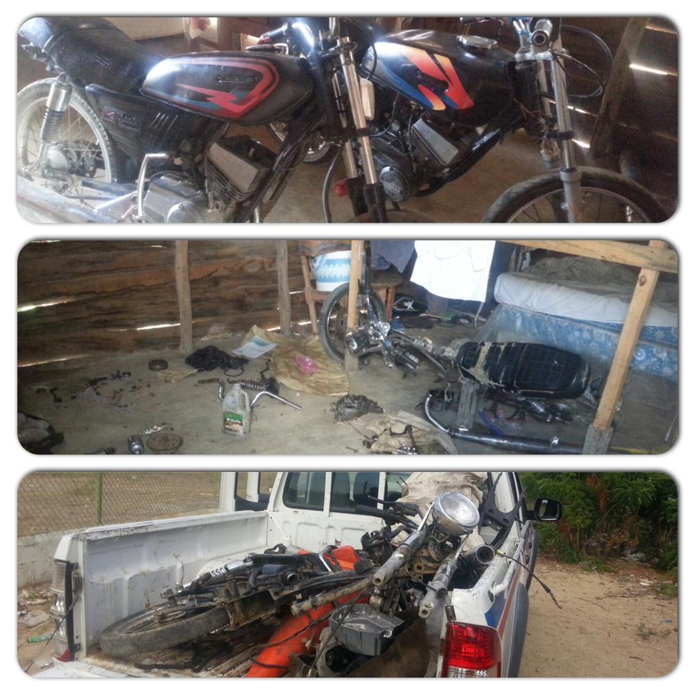 PN detiene  hombre se dedicaba a desmantelar motos robadas.Ocupa 2 motos y piezas varias.Montecristi