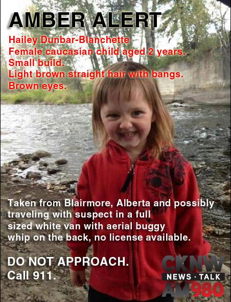 #AMBERALERT active in #BC #AB and #SK for missing 2 y/o, Hailey Dunbar-Blanchette http://t.co/a0dsj5cwQ5