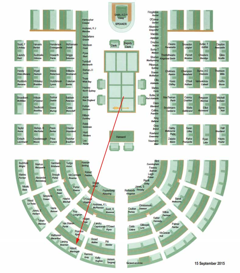 The new seating plan for the house of representatives