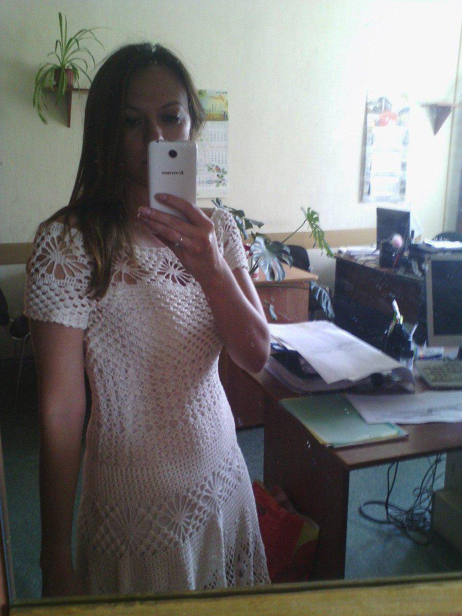 белое платье ананас крючком схема