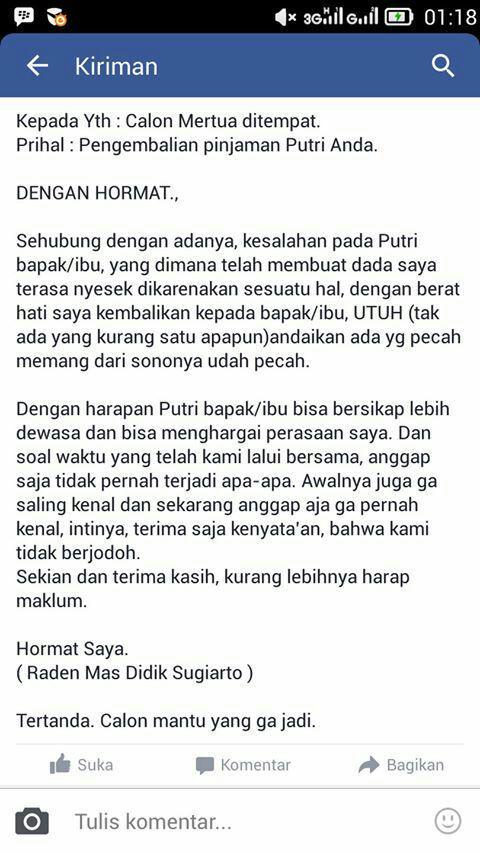 Meme Comic Indonesia On Twitter Contoh Surat Buat Mutusin