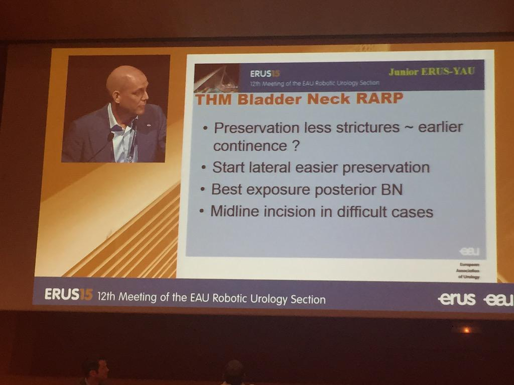Concluding remarks of @roboturoloog on bladder neck preservation during RALP. #ERUS15 Bilbao http://t.co/fqgcRJ0NvR
