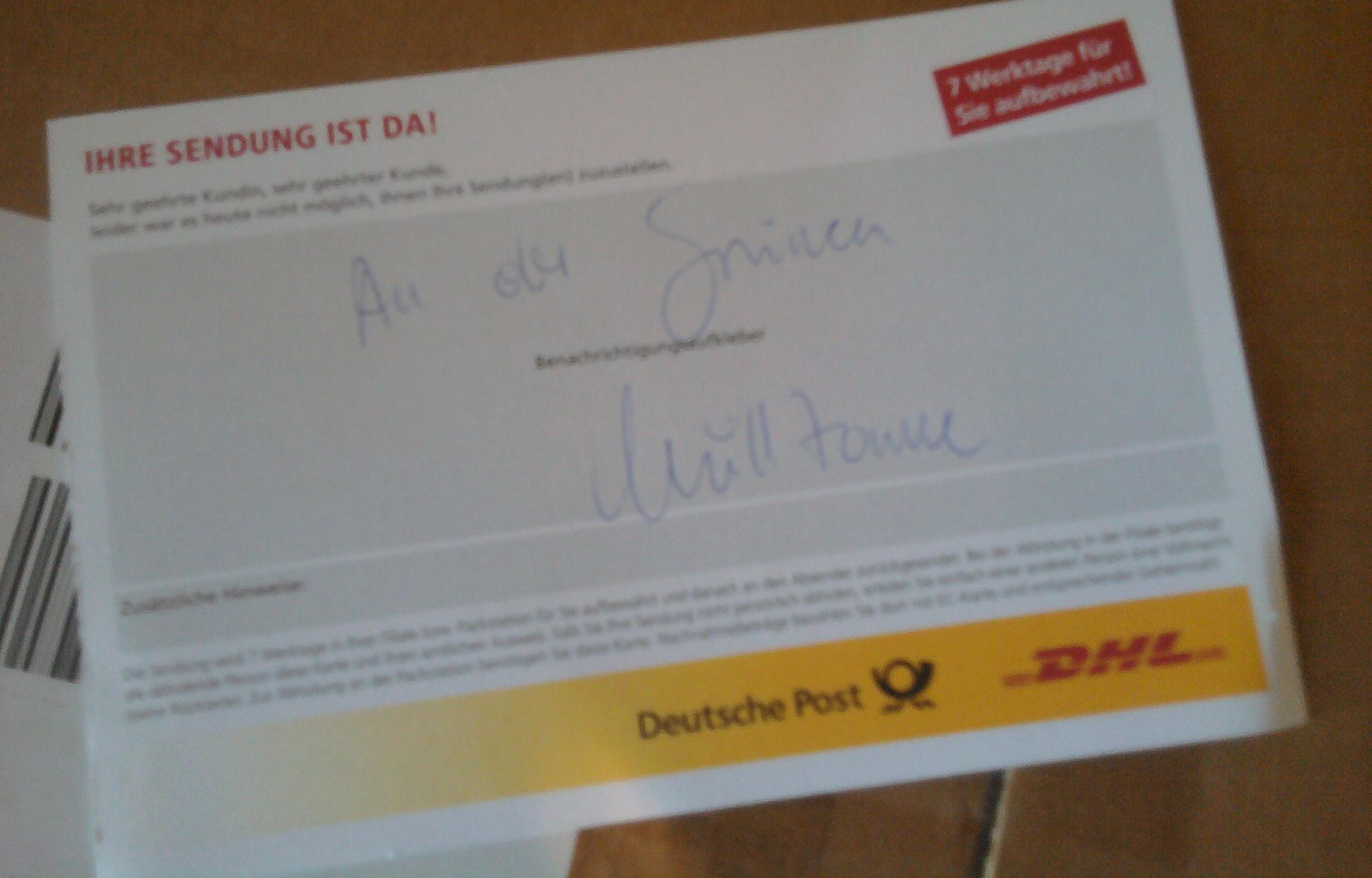 So lange die Pakete nicht in der Tonne landen, ist alles gut … #paketdienst #paketfahrer #dhl #deutschepost http://t.co/Bz0NnVOI4I
