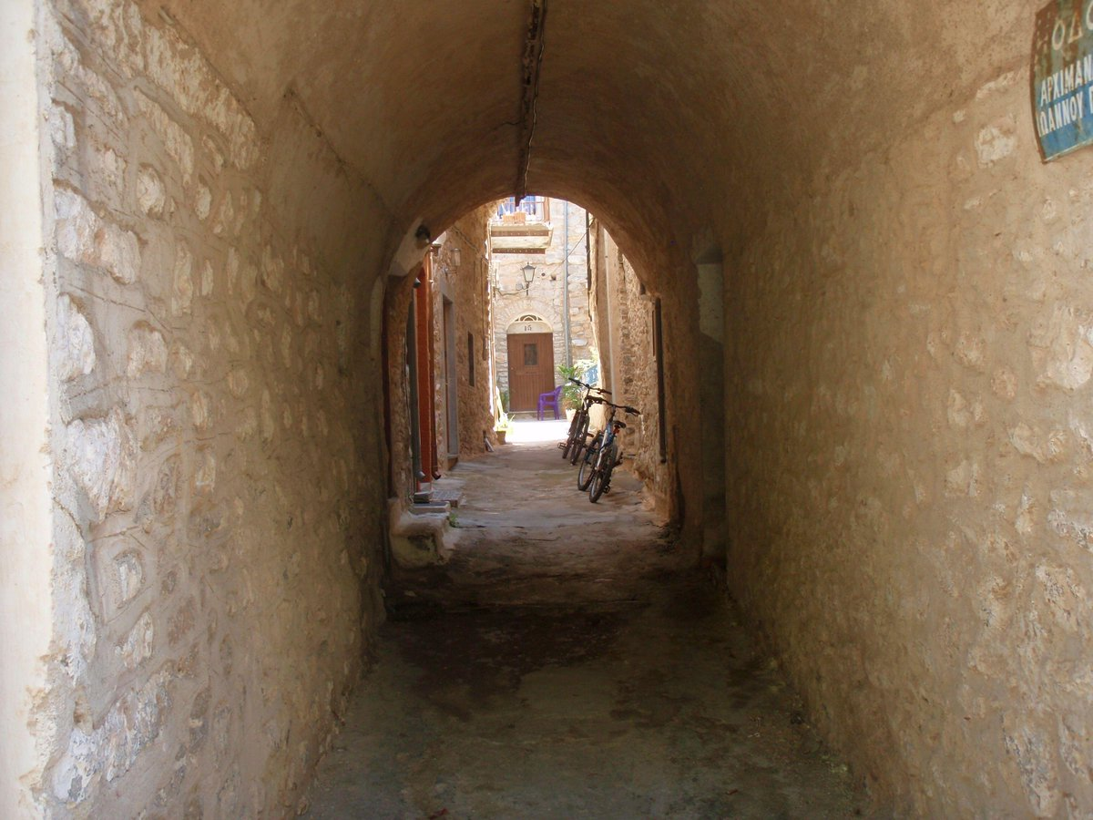 Walking through the arcades of Mesta medieval village at #Chios_island, #Greece.