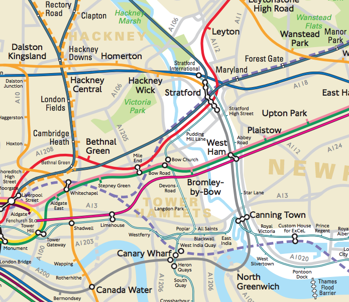 TIL there is a *geographical* tube/rail map published (internally) by TfL, & it's rather nice: http://t.co/qnky4a72xt http://t.co/pBarbwApD6