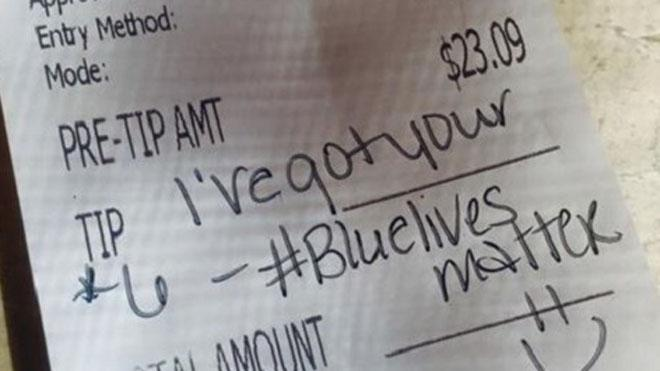 Cop's free lunch comes with a 'Blue Lives Matter' note | http://t.co/4L4hHZL0TT http://t.co/5iPtyimF9i