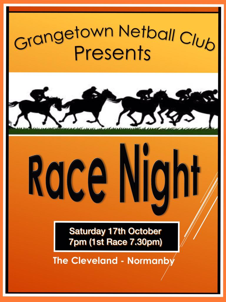 "Grangetown Netball on Twitter: ""Race Night....... 17th ..."