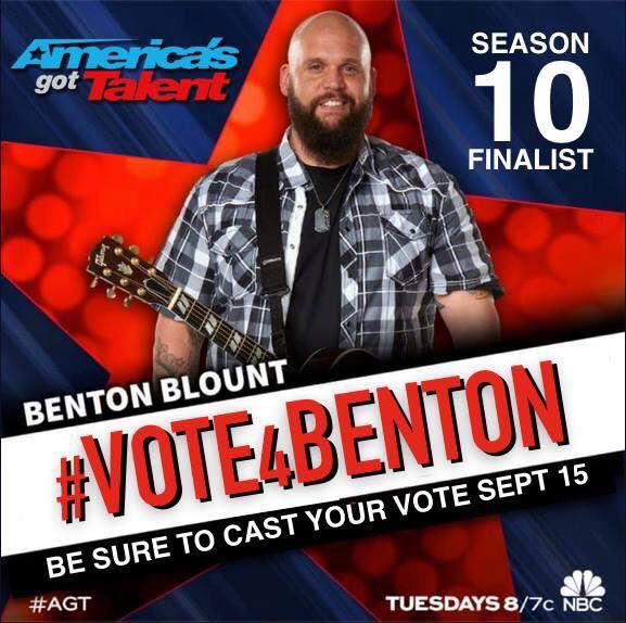 TONIGHT 8/7CT on NBC is the Finale of @nbcagt  VOTE for @bentonblount #Vote4Benton #AGTfinale #AGT #BentonBlount http://t.co/bMc0Zd5h2x