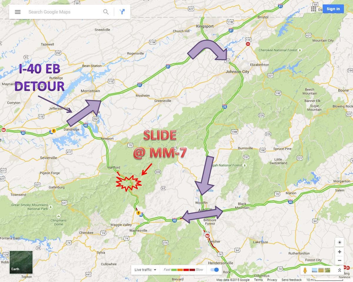Here's the detour for I-40 EB headed to NC. http://t.co/eVOBM761fb