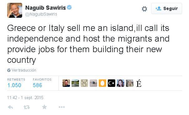 L'appello del magnate egiziano Naguib Sawiris a Italia e Grecia su Twitter.